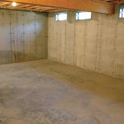 A cleaned out basement in Bainbridge Island, shown before remodeling has begun