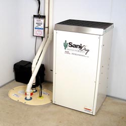 An ENERGY STAR® Rated basement dehumidifier installed in a home in Bremerton