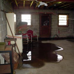 A flooded basement showing groundwater intrusion in Olympia