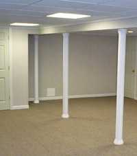 Smartpost column wrap on a basement in Port Angeles