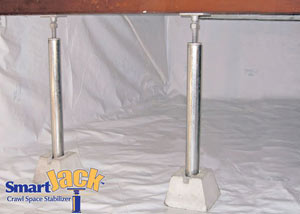 Crawl space structural support jacks installed in Seabeck
