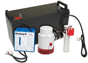 a battery backup sump pump system in Shelton