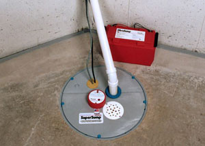 A sump pump system with a battery backup system installed in Port Ludlow