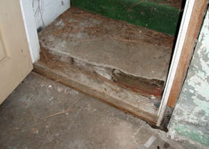 A flooded basement in Seabeck where water entered through the hatchway door