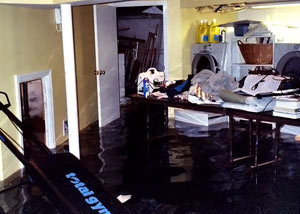 A laundry room flood in Kingston, with several feet of water flooded in.