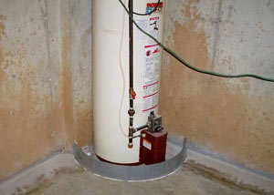 A water heater in Hoquiam that's been protected by the FloodRing® and a perimeter drain system.